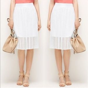 Ann Taylor White Mesh Layered Skirt